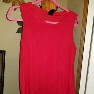 Sleeveless Tiered Tunic.  Red.